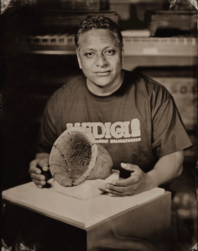Baker Mario Silva and an Egyptian bread pan, 2013