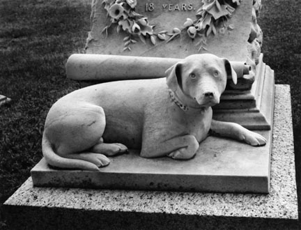 Marble Dog, Mount Auburn Cemetery, Boston