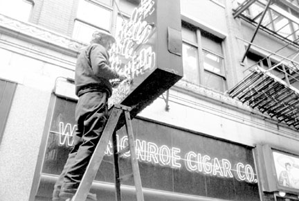 Man Fixing Neon Sign, Chicago, from Changing Chicago