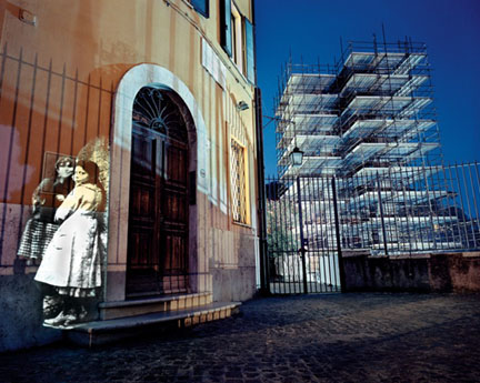 On Via della Tribuna di Campitelli. On Location Slide Projection, Rome, Italy, 2002