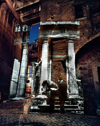 At Tower of the Fornicata, On Location Slide Projection, Rome Italy, 2002