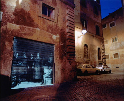 Behind Piazza Mattei, On-location slide projection, Rome, Italy, 2002