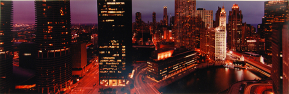 Looking North from 35E Wacker 200S--City Lights at Dusk, from the IBM Project