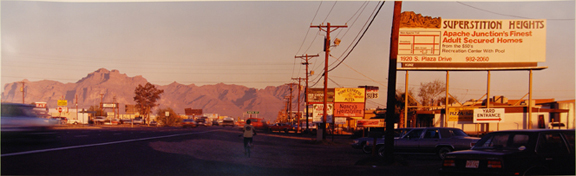 Eleven Ways to See the Superstitious Mountains: 1, Superstitions from Apache Junction Mountain Stop at 96th at Sunset