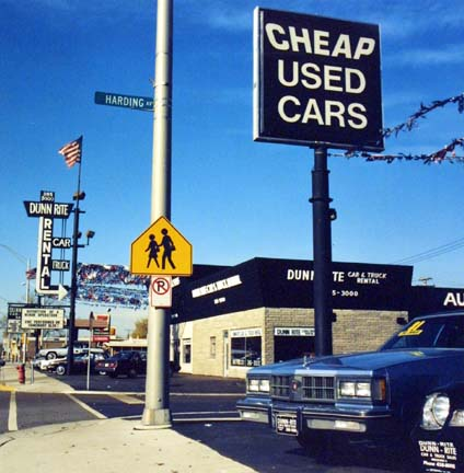 Dunn-Rite Used Car Lot, Cheap Used Cars Sign, from the Changing Chicago Project