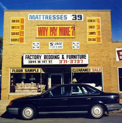 Factory Bedding & Furniture Store with 1987 Car, from the Changing Chicago Project
