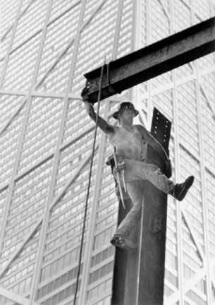 Ironworker Acrobat, 900 N. Michigan Avenue, from Changing Chicago