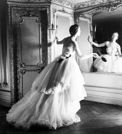 Model in White Dior Ball Gown with Mirror