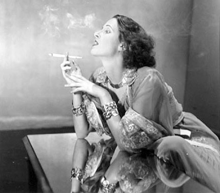 Napier Shelly in Nightgown Smoking Cigarette