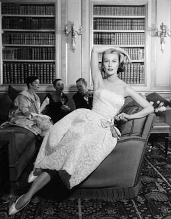Mary Jane Russell in Evening Gown with Arm Over Head