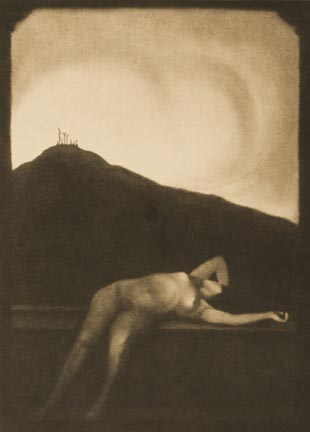 Untitled (nude reclined on ledge, crucifix hill background)
