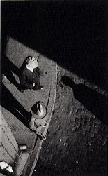 (New York Street Corner, High Angle View with Two Men)
