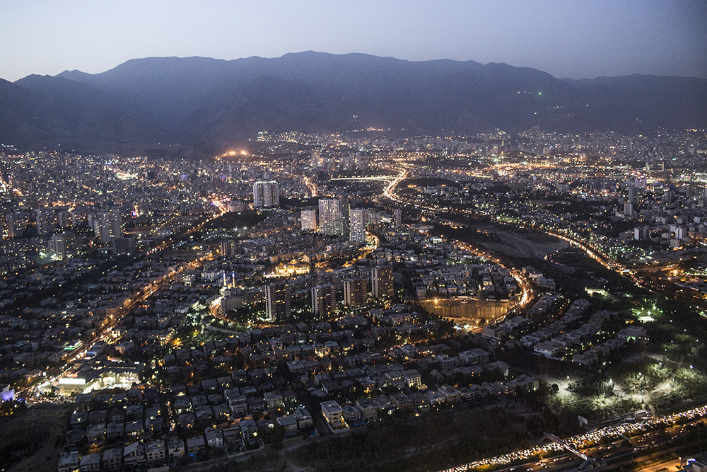Tehran, Iran. A view over Tehran from the Milad Tower.