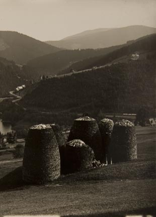Untitled (countryside, hills in background, cluster of structures in foreground)