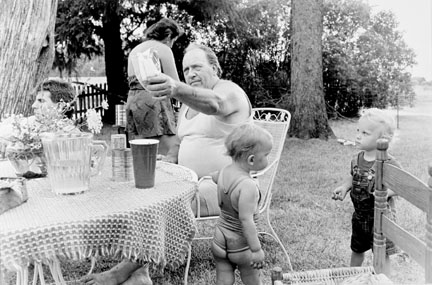 Picnic Celebrating Randy's Birthday; Randy, Sandra, Grandpa, Poppy, and Cousin Gina, Caledonia Road, from Changing Chicago