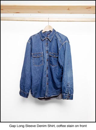 Gap Long Sleeve Denim Shirt, coffee stain on front, from the