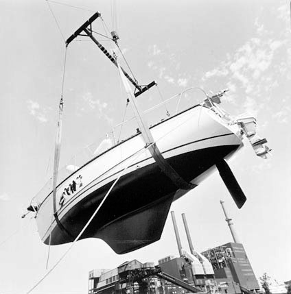 Putting a Yacht in the River at Crowley'sYacht Yard, Archer Avenue, West of Halsted, from Changing Chicago