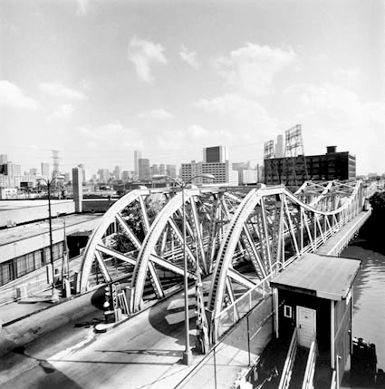 View of Halsted Bridge from Ogden Bridge, from Changing Chicago