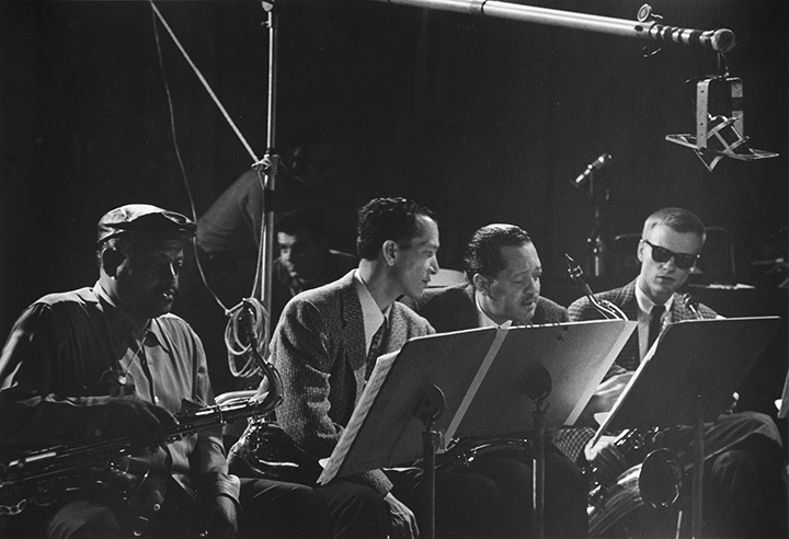 Ben Webster, Earle Warren, Lester Young, and Gerry Mulligan, television studio, N.Y.C.