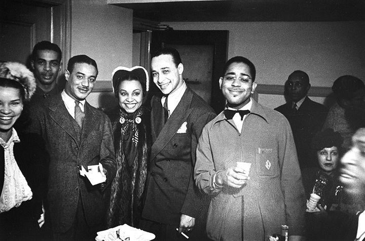 Cholly Atkins, Donald Mills, Avis Andrews, Louis Brown, Dizzy Gillespie, and Keg Johnson, backstage, Earle Theater, Philadelphia