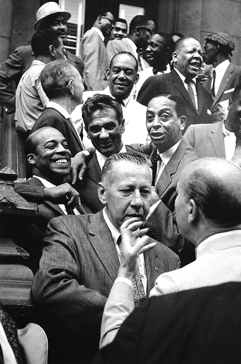 The Drummers (First row) George Wettling and Bud Freeman; (Second Row) Jo Jones, Gene Krupa, and Sonny Greer; (Third Row) Miff Mole, Zutty Singleton, Red Allen, and Taft Jordan; (Top row) Dickie Wells, Buck Clayton, Benny Golson, Art Farmer, Hilton Jefferson, and Art Blakey, Esquire Magazine Shoot, Harlem, NYC