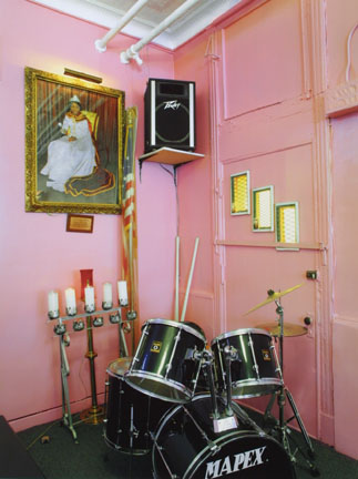 Drum Set and Portrait, Lily of the Valley Spiritual Church, 2004, 49th and South Princeton, Chicago