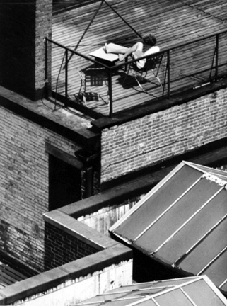 Greenwich Village, New York (woman on rooftop reading)
