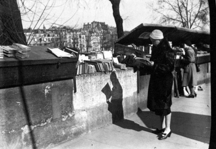 Elizabeth Reading At Outdoor Book Stall