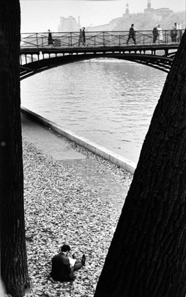 Pont des Arts, Paris (man reading between trees)
