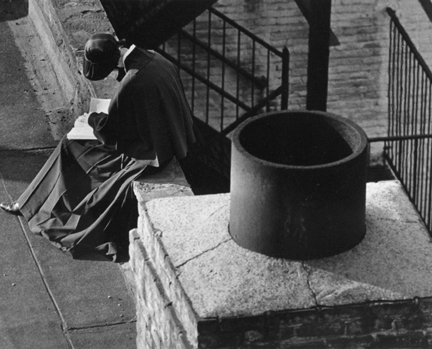 New York (nun reading near chimney)