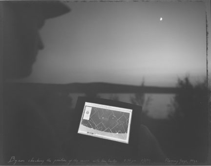 Byron checking the position of the moon with his laptop, Flaming Gorge, Wyoming 8/8/97