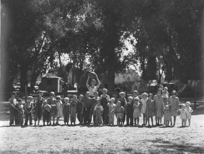 Marysville camp for migrants. Supervised play for the children is part of the child welfare program at the Resettlement Administration camp. California