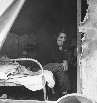 Daughter of migrant Tennessee coal miner. Living in the American River Camp near Sacramento, California