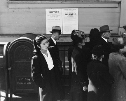 Residents of Japanese ancestry registering for evacuation and housing, later, in War Relocation Authority centers for the duration of the war. San Francisco, California. April 1942