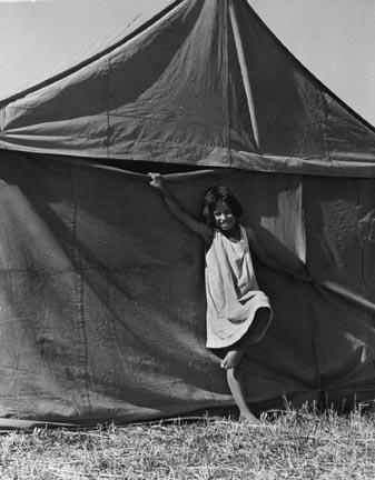 Child in Pea Picker's Camp Near Stockton, California