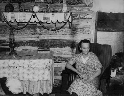 Mrs. Bodray in her home near Tipler, Wisconsin