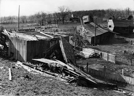 Damage done during the 1937 flood near Shawneetown, Illinois