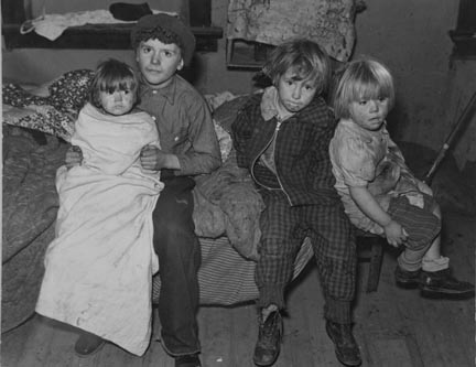 Children of the drought area in farm home of aunt. Sheridan County, Montana