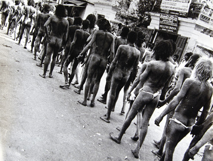 LL12004 (long line of naked men seen from behind)