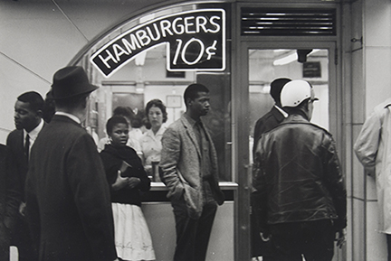 Outside, Lester MacKinney, Bernice Reagon, and John O'Neal wait to get in [a Nashville Tic Toc restaurant]