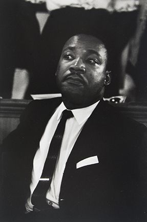Dr. Martin Luther King just before he speaks at Birmingham