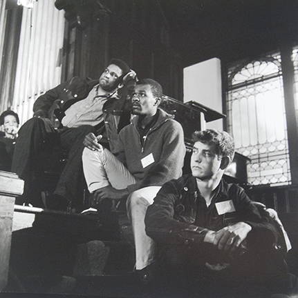 Ruby Doris Smith, James Forman, Marion Barry, and Sam Shirah at the SNCC Washington conference shortly after Kennedy's death