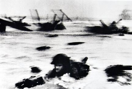 The first wave of American troops landing on D-Day, Omaha Beach, Normandy coast, France, from the