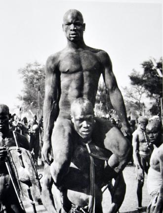 The victor of a Korongo Nuba wrestling match Kordofan, Southern Sudan, from the