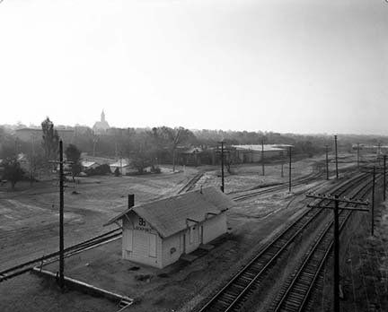 Lockport Railroad Station from Route 7 Bridge Over Canal, from Changing Chicago Project