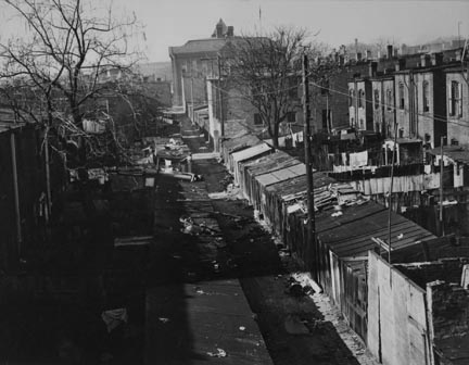 View of alley in Northwest Washington, behind North Capitol Street. Blake School in background