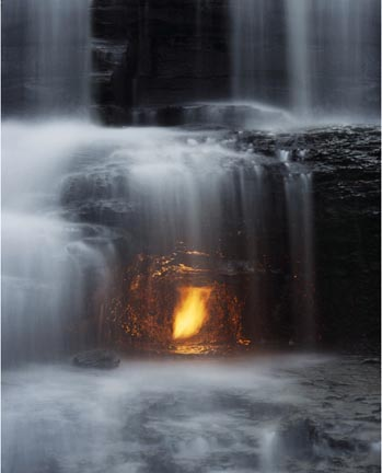 Untitled (flame in waterfall)
