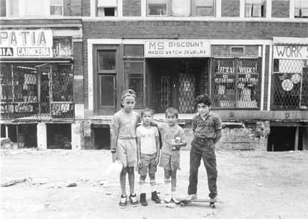 Four Boys on Commercial Avenue After Picking Up Food for Dinner, from Changing Chicago