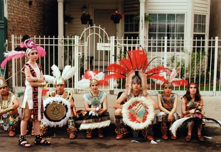 Teens Dressed as Aztec Indians Sit Patiently as They Wait for the Start of the Annual Mexican Independence Parade, September 1995