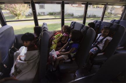Head Start Preschoolers from the River Valley Migrant and Seasonal Head Start Center in Kankakee, Illinois, Ride the Bus to the Kankakee Center, After Being Picked Up from their Homes. The Preschoolers are Children of Migrant Workers, and Food Service Providers, September 2010